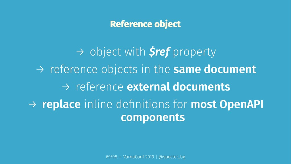 Reference object → object with $ref property → ...