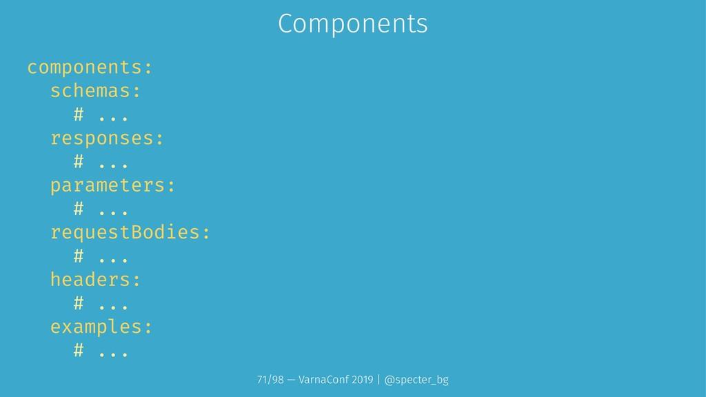 Components components: schemas: # ... responses...