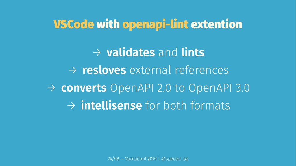 VSCode with openapi-lint extention → validates ...
