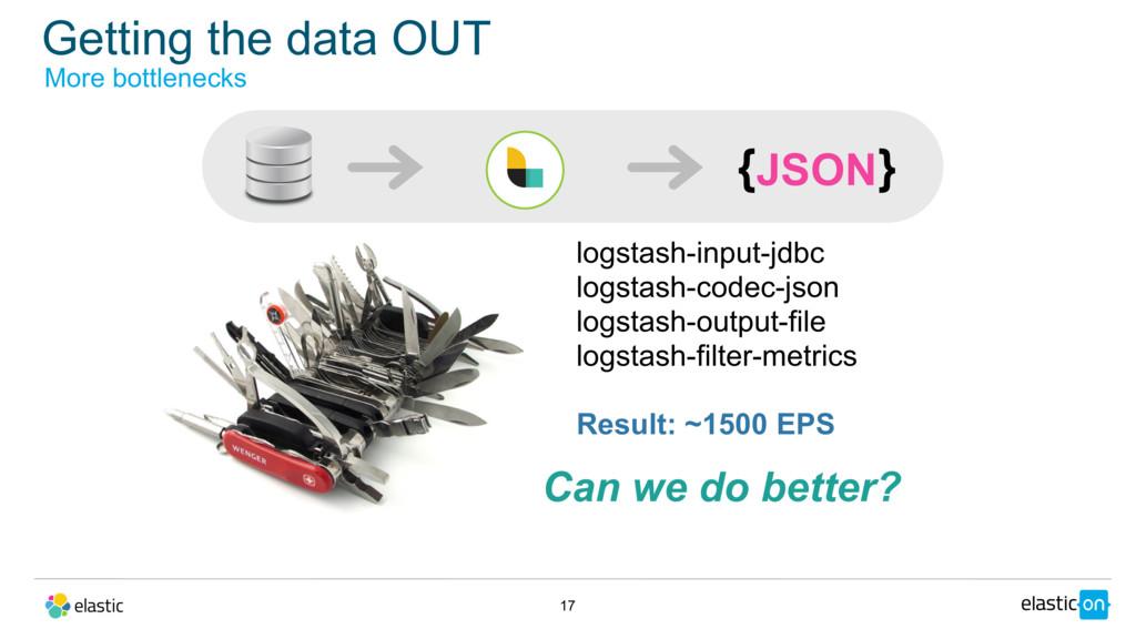 Getting the data OUT 17 More bottlenecks JSON {...