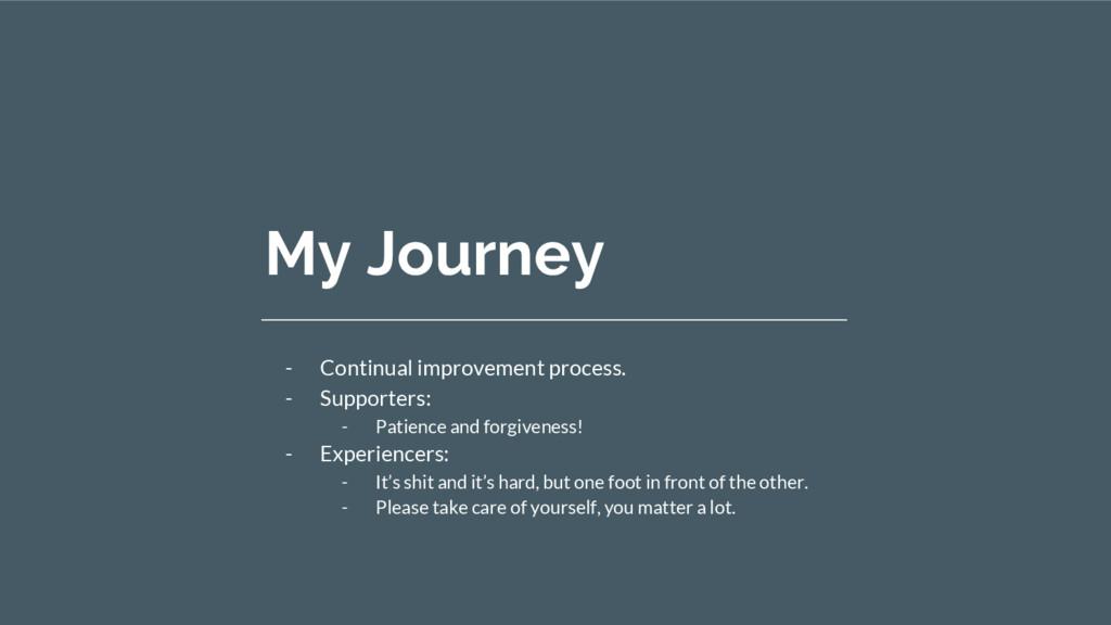 My Journey - Continual improvement process. - S...