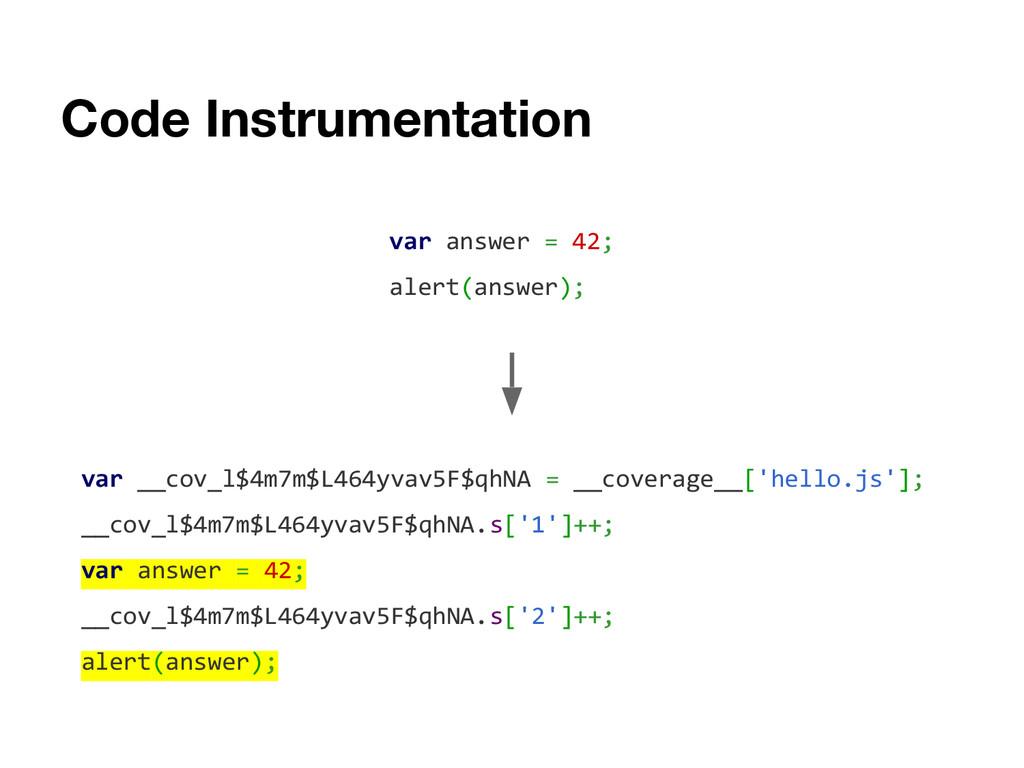 Code Instrumentation var answer = 42; alert(ans...