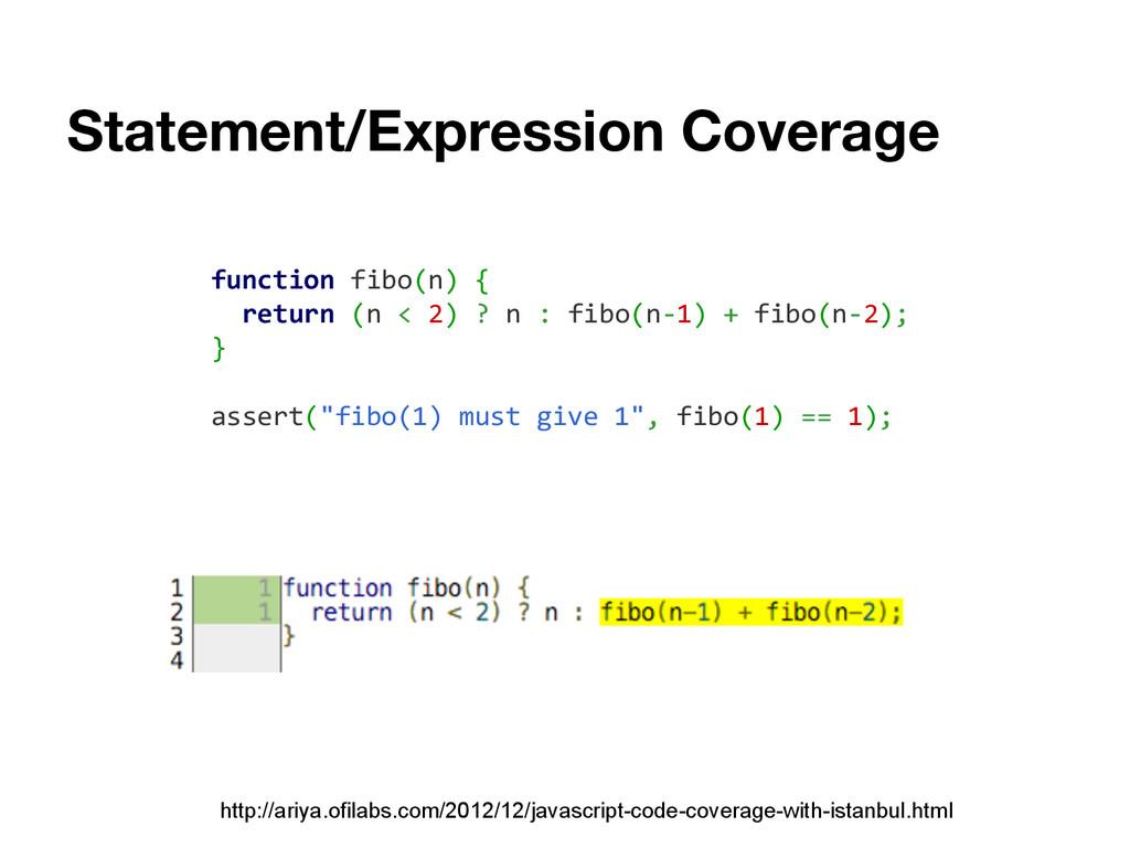 Statement/Expression Coverage http://ariya.ofil...