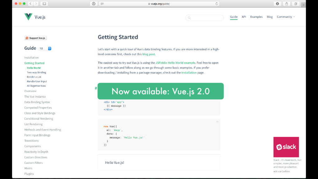 Now available: Vue.js 2.0