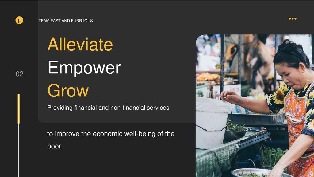 F 02 Alleviate Empower Grow Providing financial...