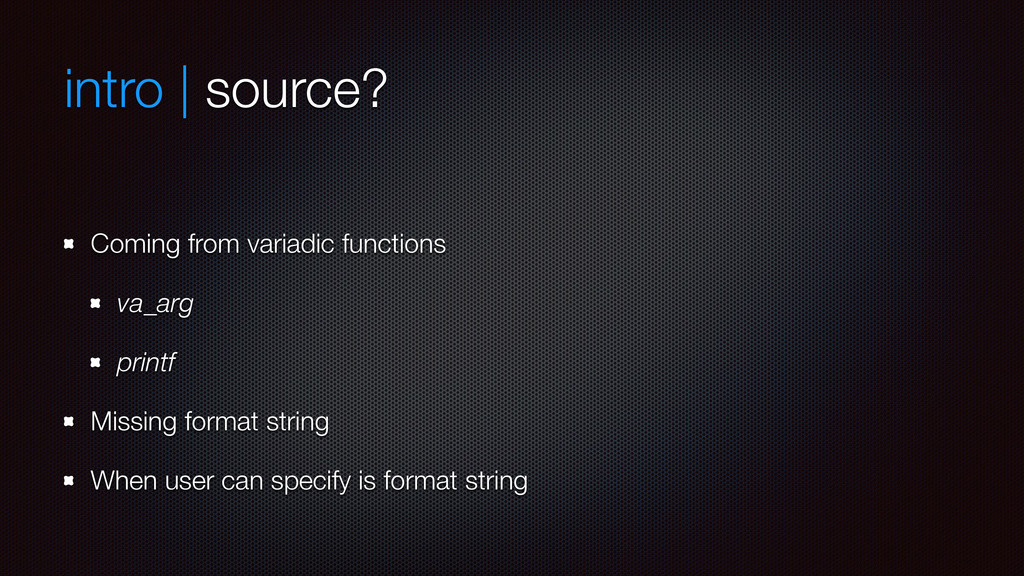 intro | source? Coming from variadic functions ...
