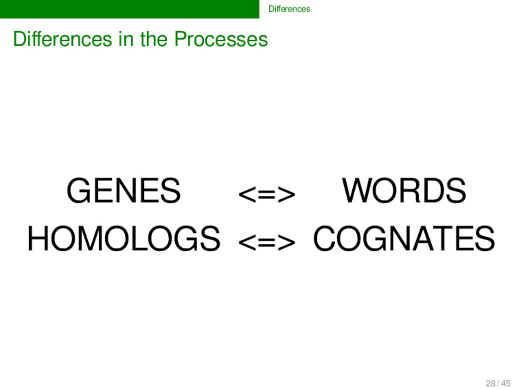 Differences Differences in the Processes GENES <=...