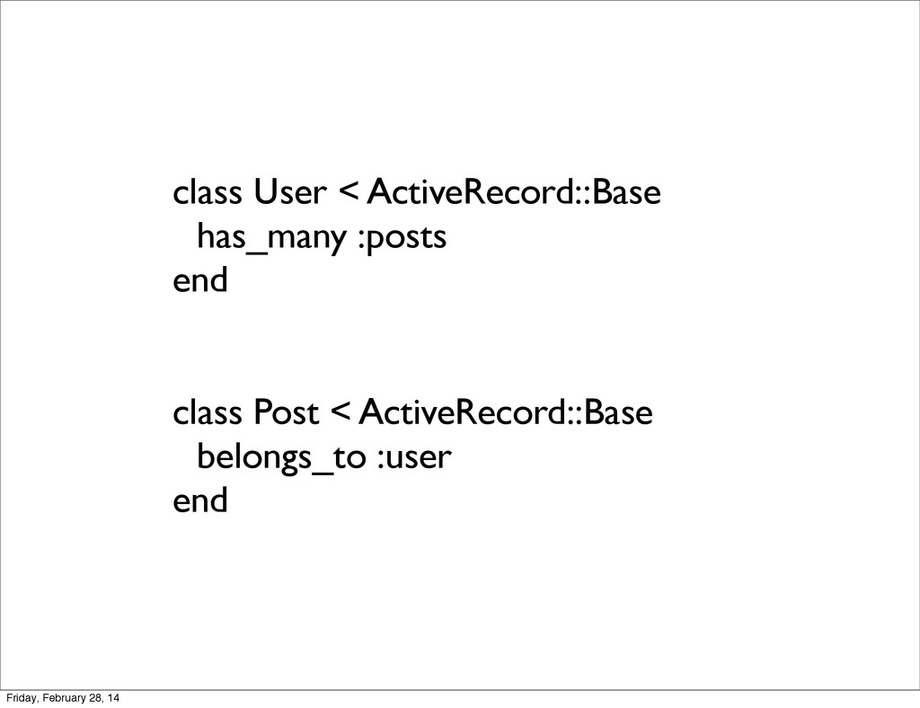 class User < ActiveRecord::Base has_many :posts...