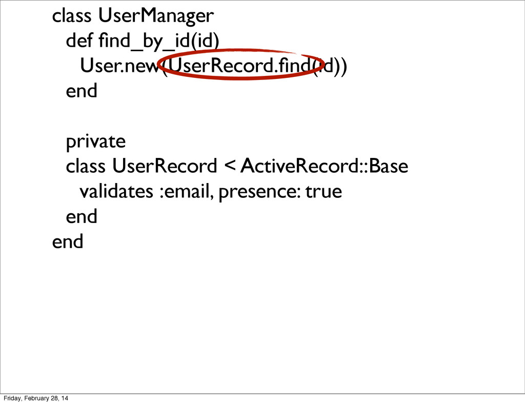 class UserManager def find_by_id(id) User.new(Us...