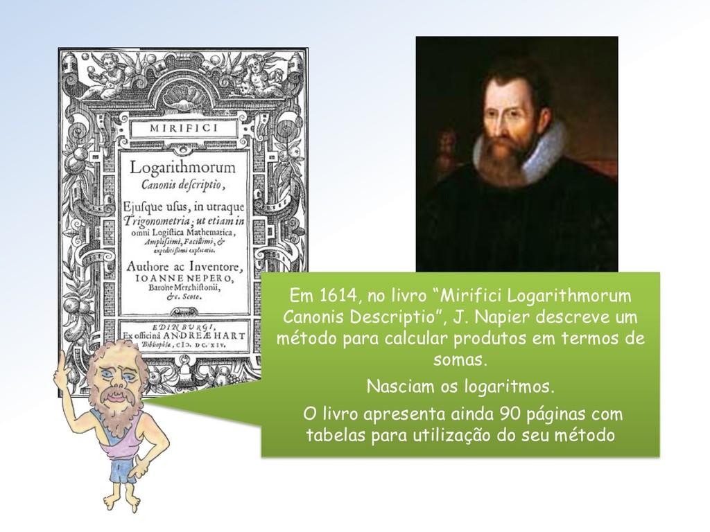 "Em 1614, no livro ""Mirifici Logarithmorum Canon..."