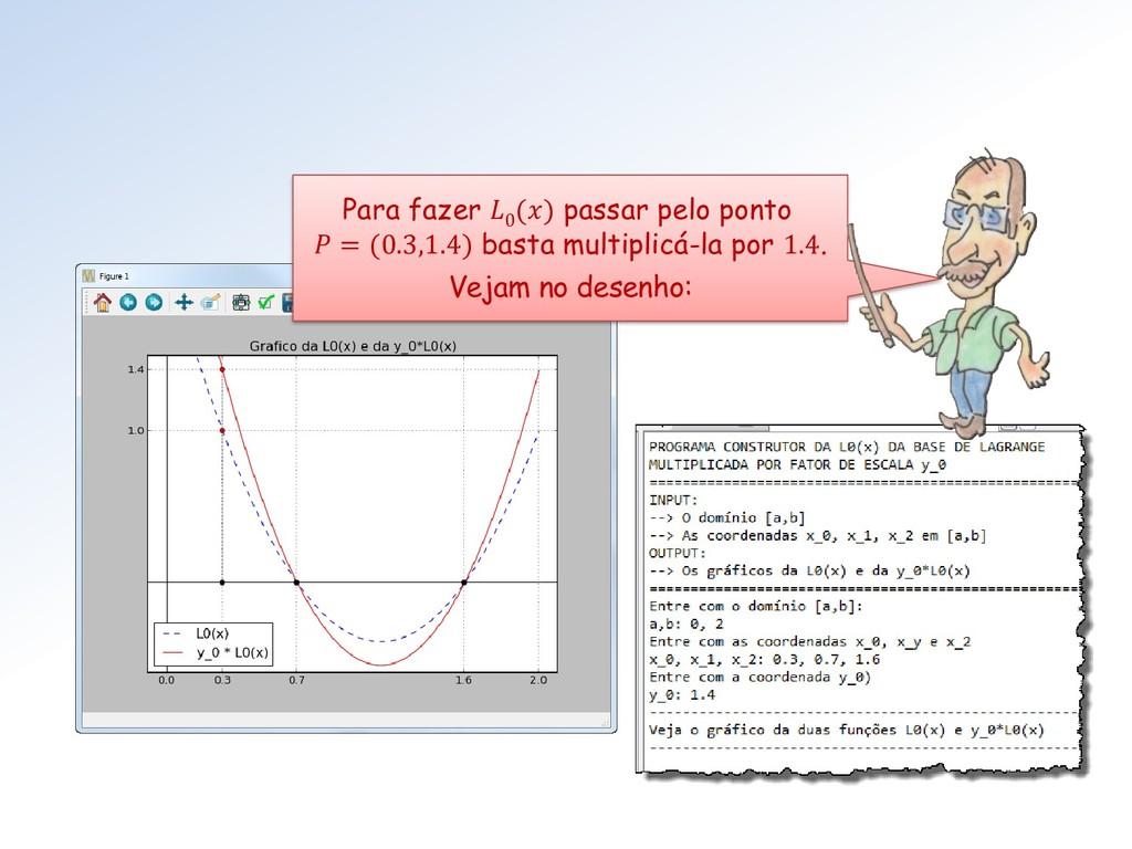 Para fazer  0 () passar pelo ponto  = (0.3,1.4)...