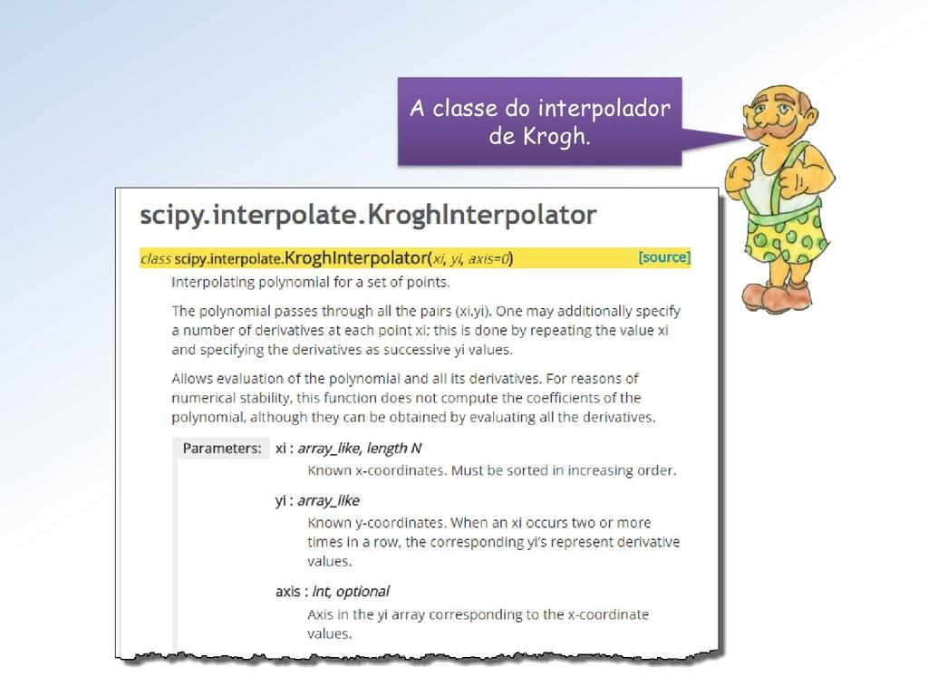 A classe do interpolador de Krogh.
