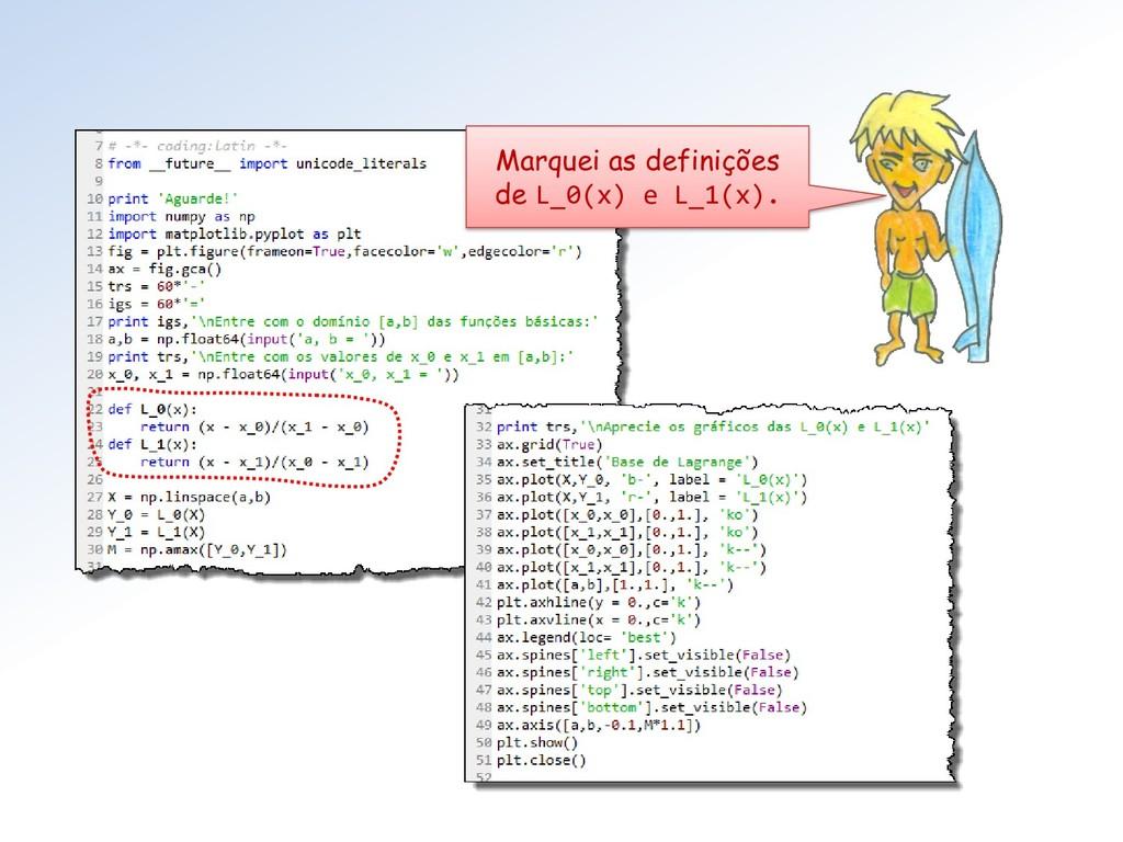 Marquei as definições de L_0(x) e L_1(x).