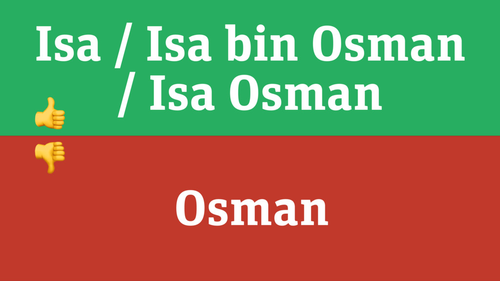 Isa / Isa bin Osman / Isa Osman Osman