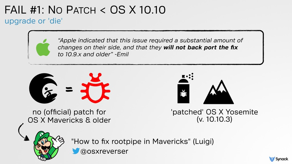 upgrade or 'die' FAIL #1: NO PATCH < OS X 10.10...