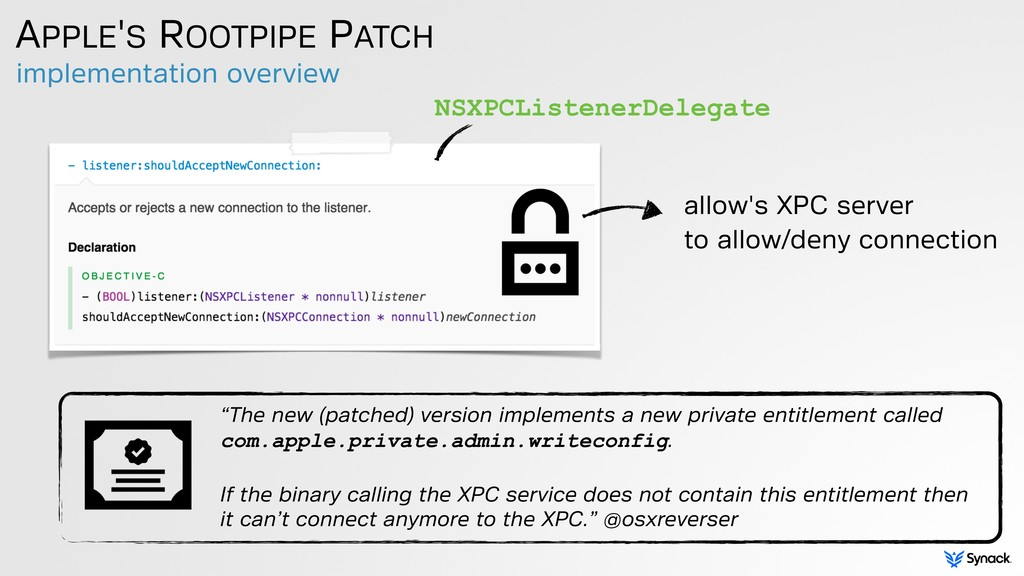 implementation overview APPLE'S ROOTPIPE PATCH ...