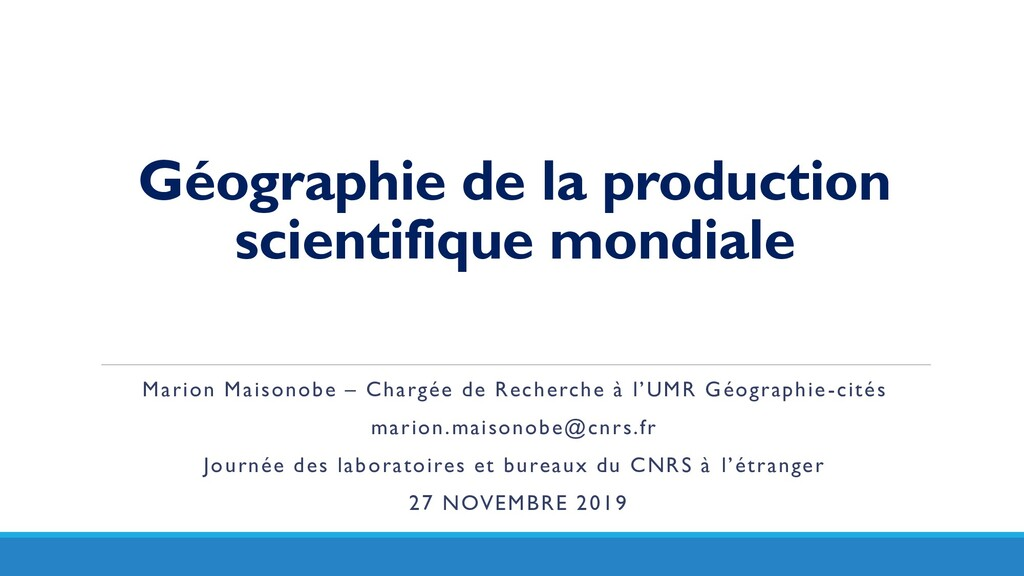 Géographie de la production scientifique mondia...