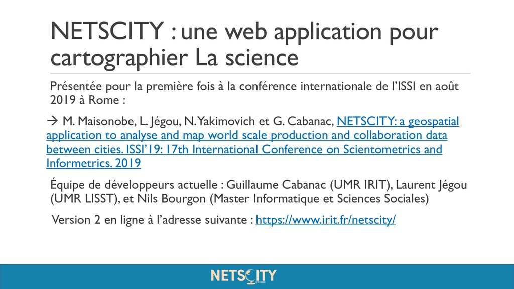 NETSCITY : une web application pour cartographi...