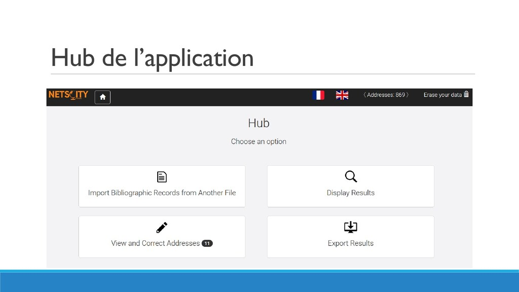 Hub de l'application