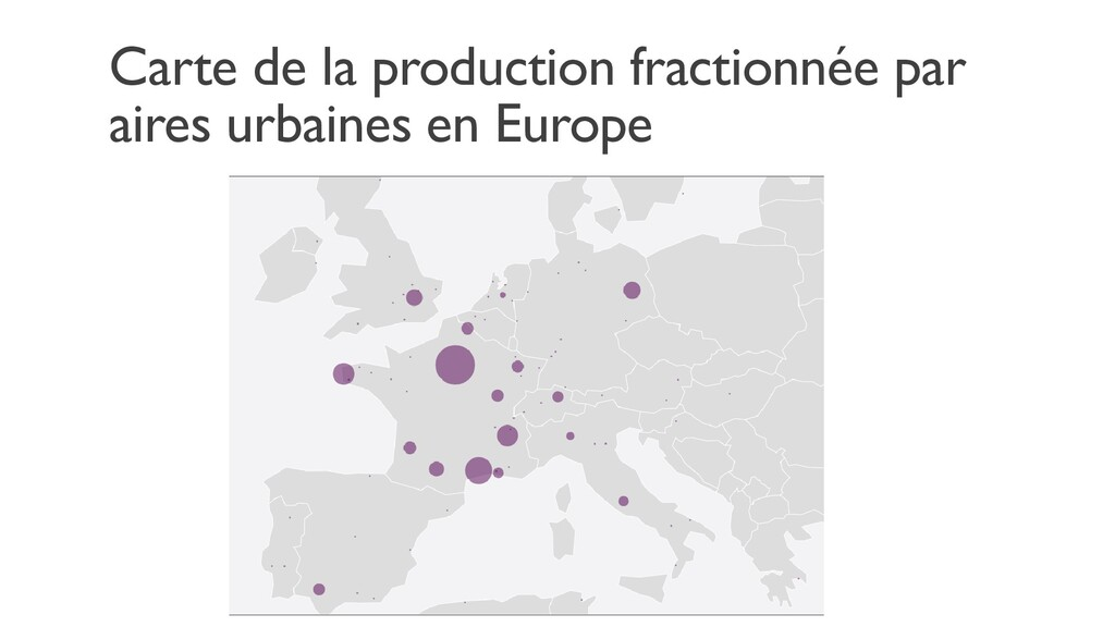 Carte de la production fractionnée par aires ur...