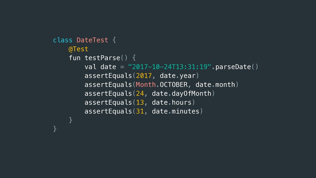 class DateTest { @Test fun testParse() { val da...