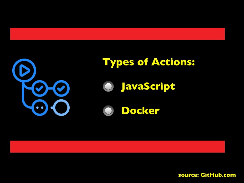 Types of Actions: JavaScript Docker source: Git...