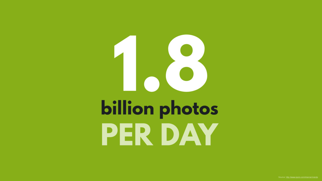 1.8 billion photos PER DAY Source: http://www.k...
