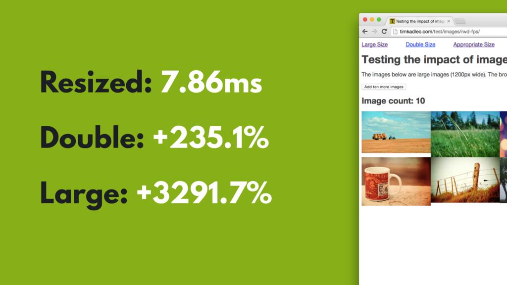 Resized: 7.86ms Double: +235.1% Large: +3291.7%