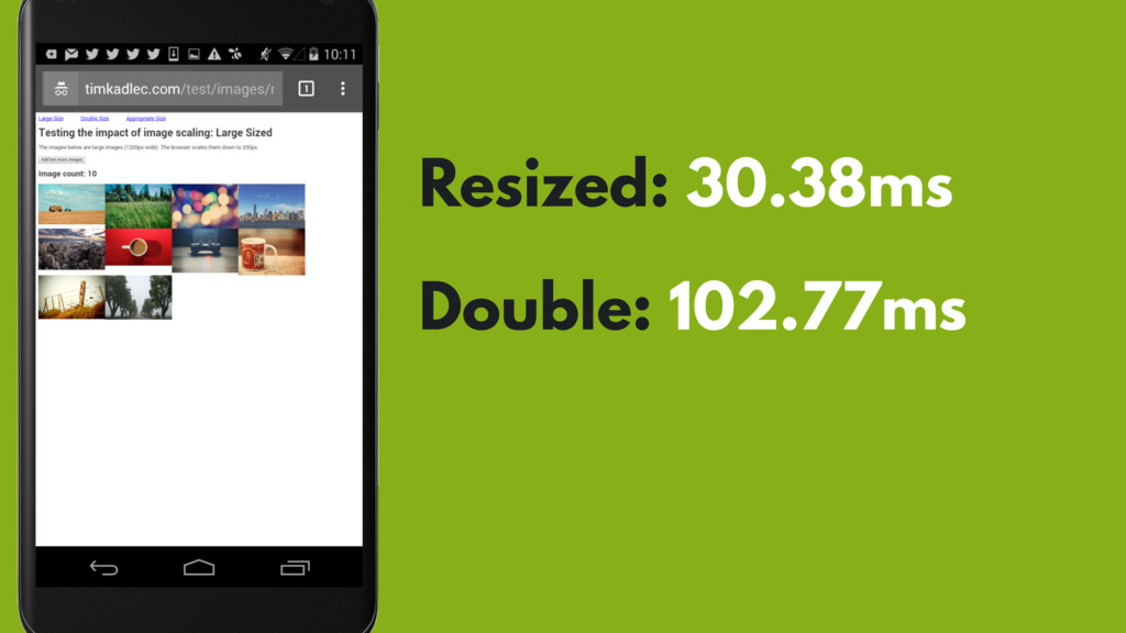 Resized: 30.38ms Double: 102.77ms