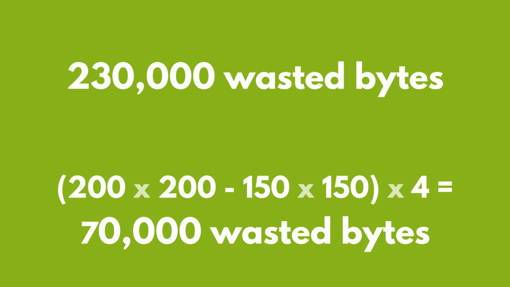 (200 x 200 - 150 x 150) x 4 = 70,000 wasted byt...