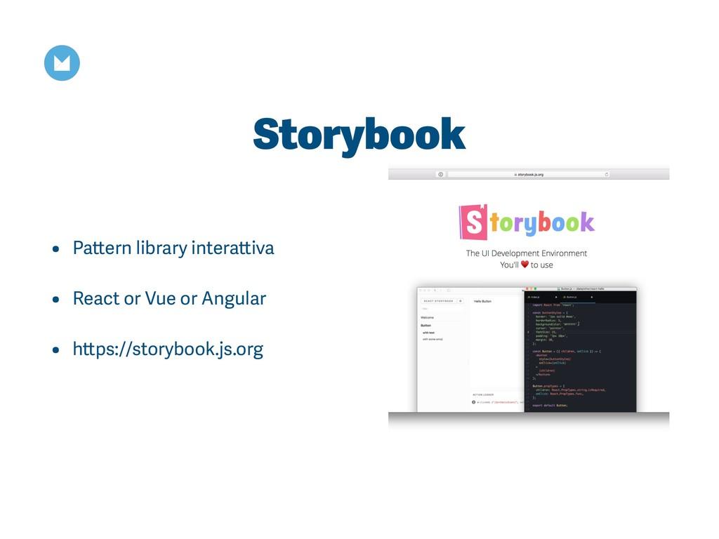 Storybook • Pattern library interattiva • React...