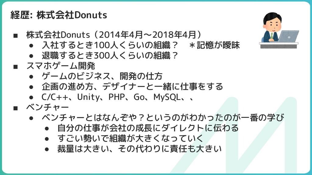 経歴: 株式会社Donuts ■ 株式会社Donuts(2014年4月〜2018年4月) ● ...