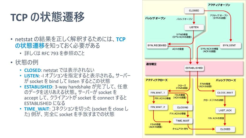 TCP の状態遷移 • netstat の結果を正しく解釈するためには、TCP の状態遷移を知...