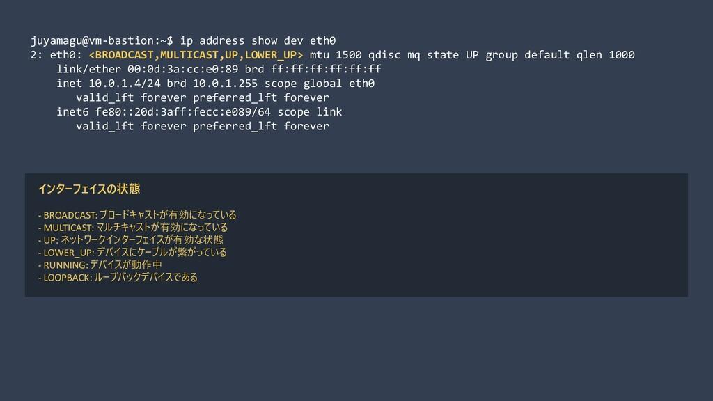 juyamagu@vm-bastion:~$ ip address show dev eth0...