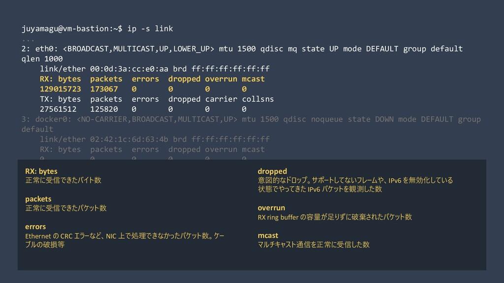 juyamagu@vm-bastion:~$ ip -s link ... 2: eth0: ...
