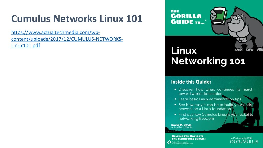 Cumulus Networks Linux 101 https://www.actualte...