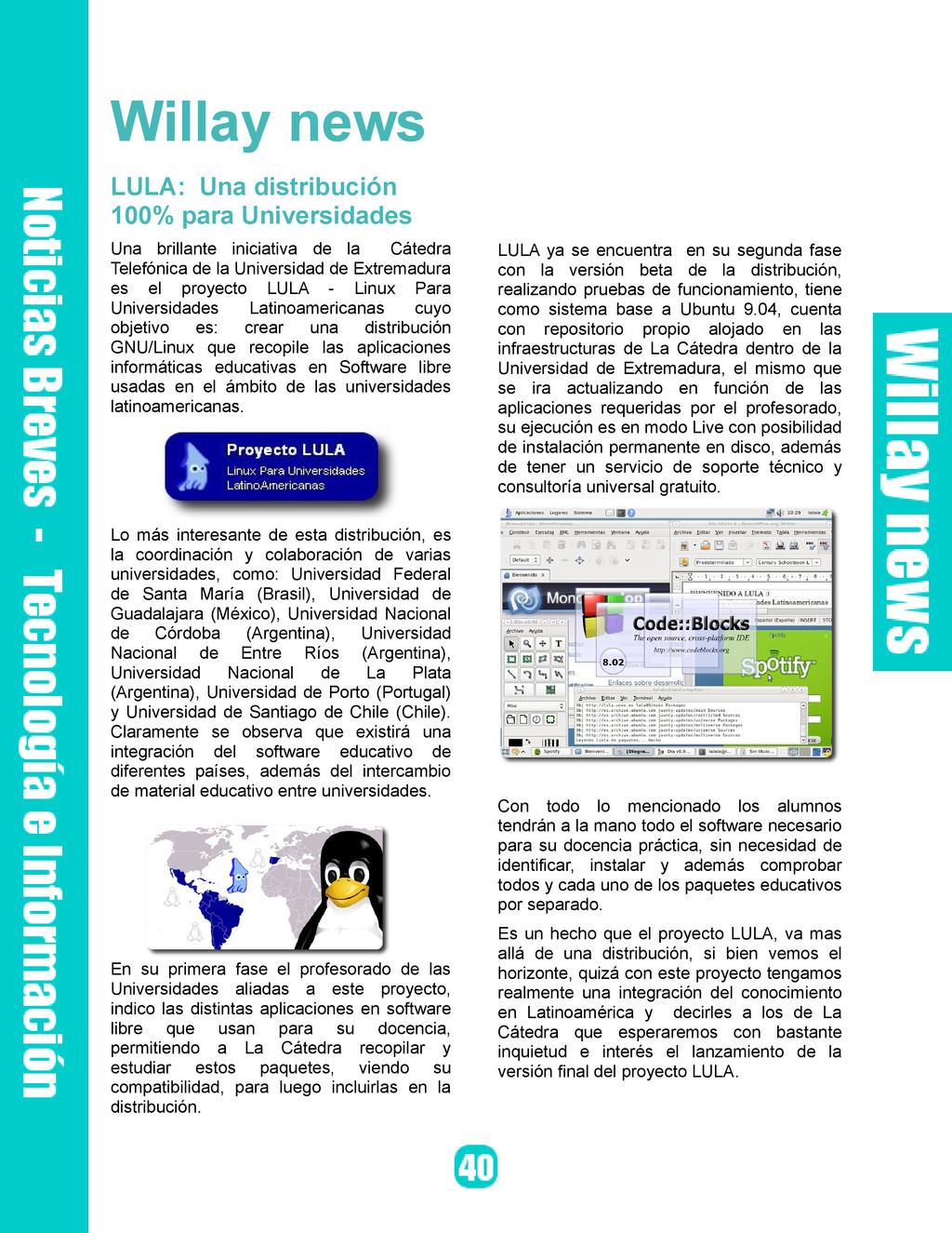 Willay news LULA: Una distribución 100% para Un...