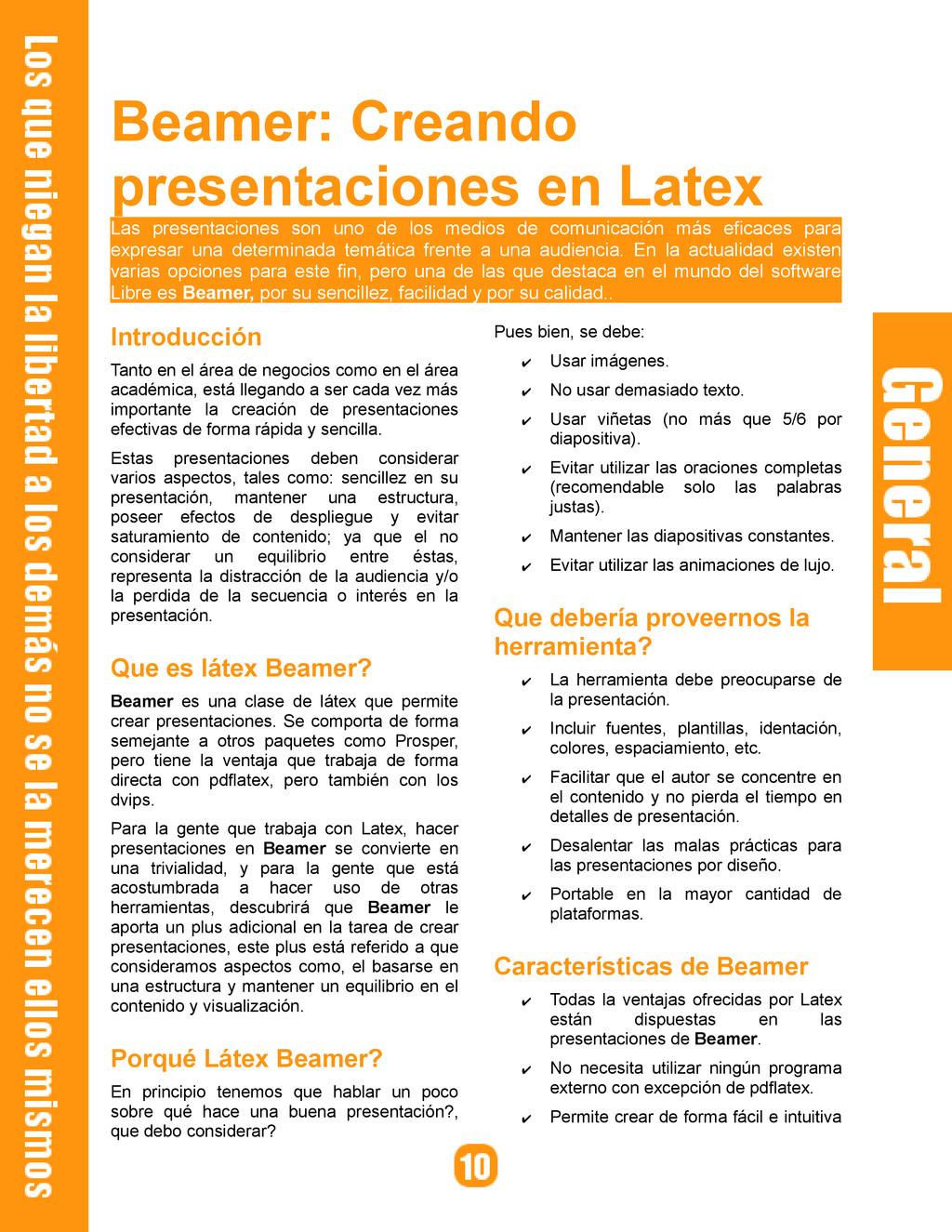 Beamer: Creando presentaciones en Latex Las pre...