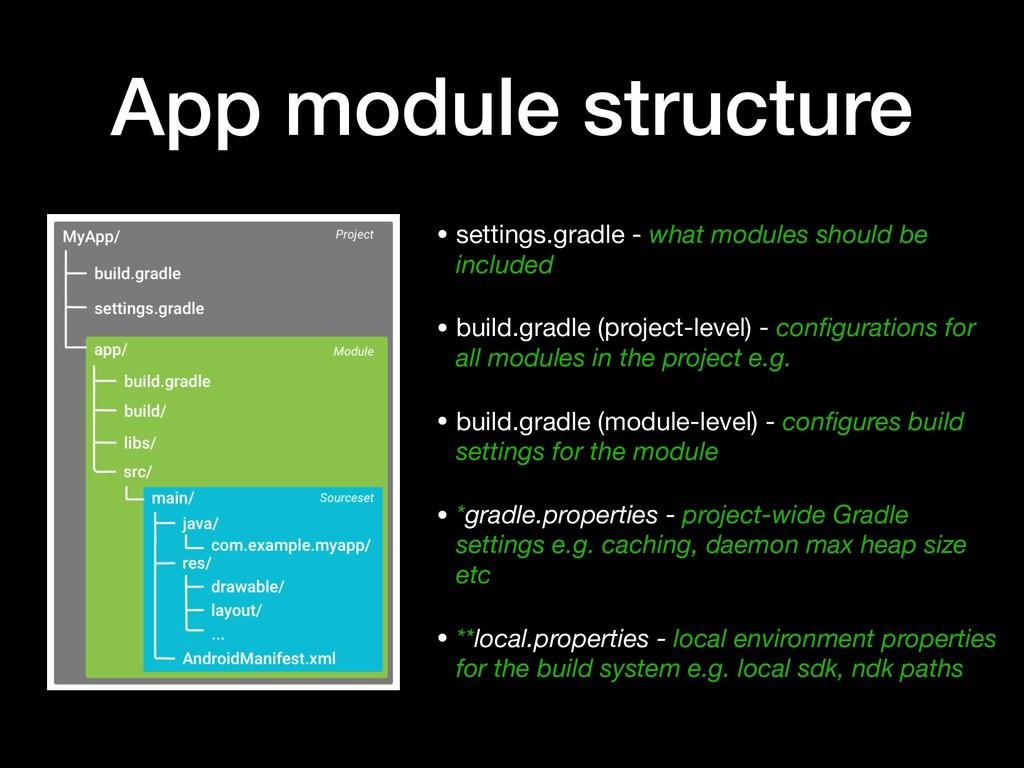 App module structure • settings.gradle - what m...
