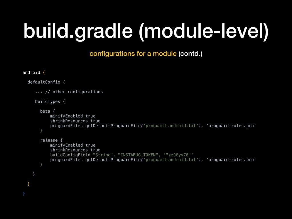 build.gradle (module-level) configurations for a...