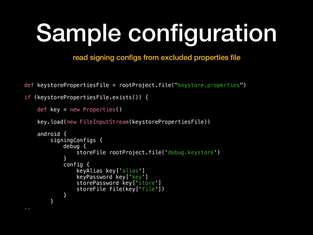 Sample configuration read signing configs from ex...