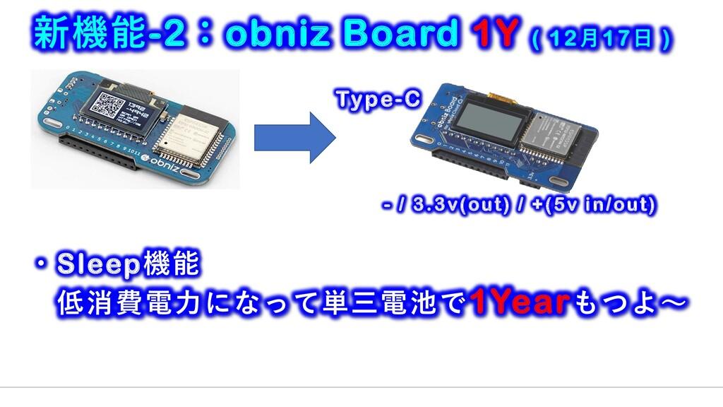 新機能-2:obniz Board 1Y ( 12月17日 ) Type-C - / 3.3v...