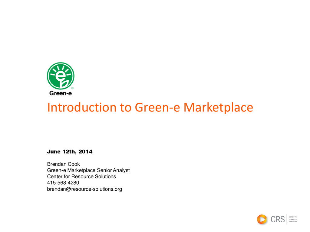 Introduction to Green-e Marketplace June 12th, ...