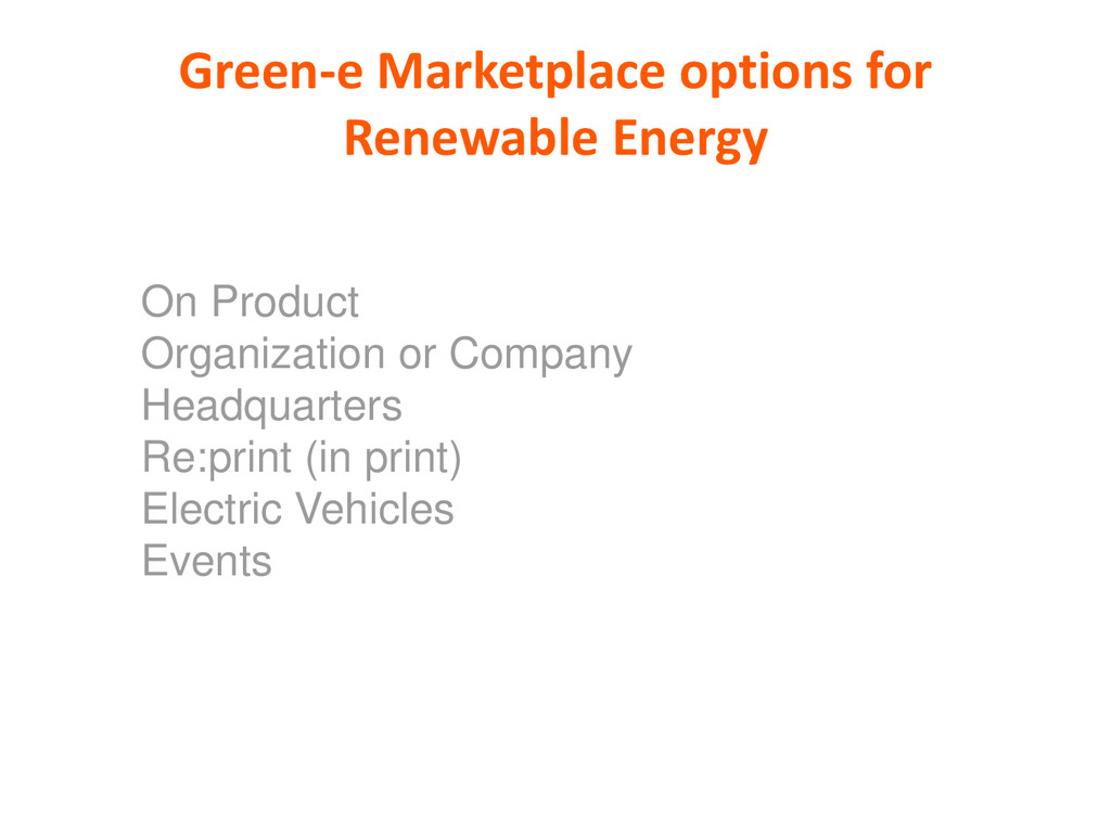 Green-e Marketplace options for Renewable Energ...