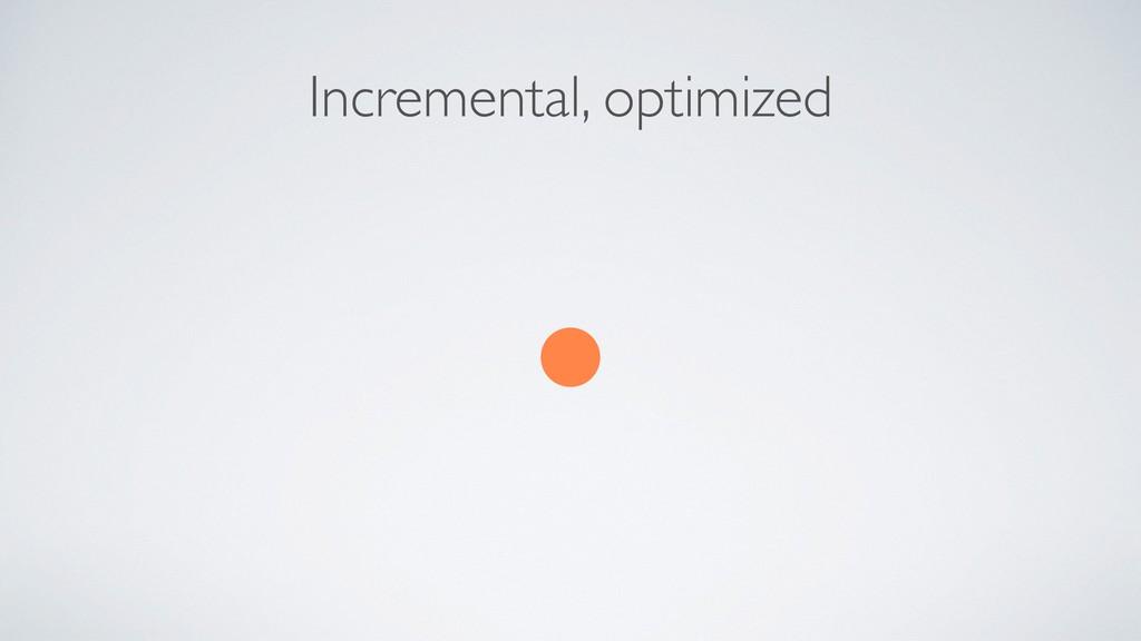 Incremental, optimized