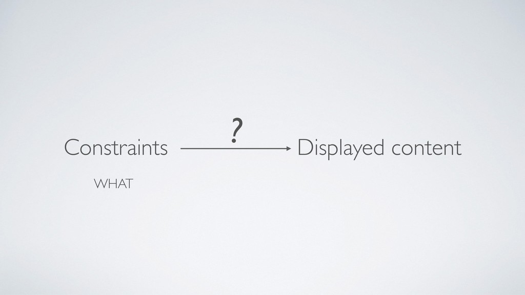 Constraints Displayed content ? WHAT
