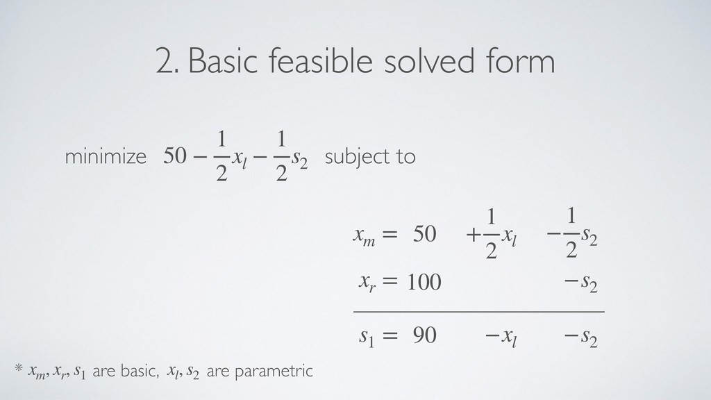 s1 = xr = minimize subject to xm = 50 − 1 2 xl ...