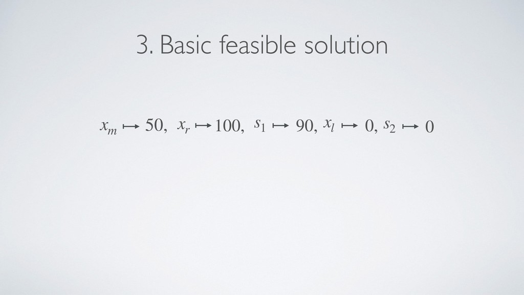 3. Basic feasible solution xr 100, xm 50, s1 90...