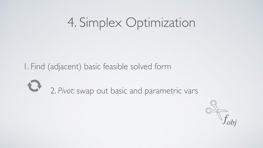 4. Simplex Optimization 1. Find (adjacent) basi...