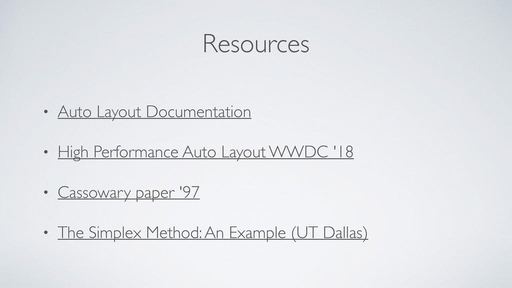 Resources • Auto Layout Documentation • High Pe...